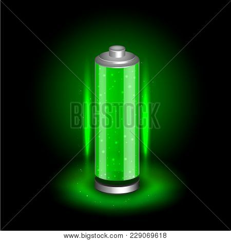 Charged Battery Icon On Black Dark Background. Glossy Accumulator With Full Green Indicator Color Ch