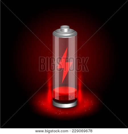 Discharged Battery On Black Dark Background. Glossy Accumulator With Red Indicator Color Charge And