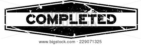 Grunge Black Completed Word Hexagon Rubber Seal Stamp On White Background