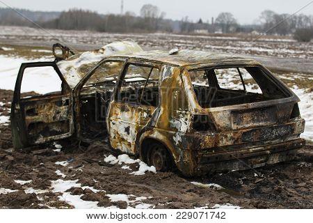 Burned Car, Burned-out Car Body, Broken Vehicle