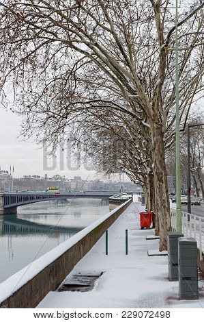 Lyon, France, March 1, 2018 : Rhone River Banks As A Cold Spell Rages In All Europe And The Capital