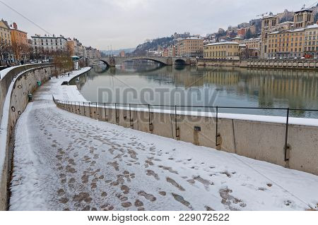 Lyon, France, March 1, 2018 : Saone River Banks As A Cold Spell Rages In All Europe And The Capital
