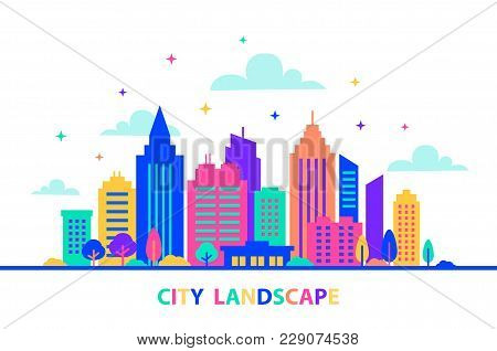 City Landscape. Silhouettes Of Buildings With Neon Glow And Vivid Colors. City Landscape Template. F