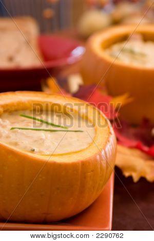 Delicious Chowder In Pumpkin Bowls
