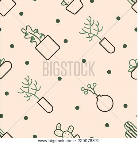 Background Of House Flowers Without Seams. It Is Executed In A Linear Style