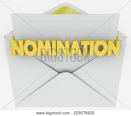 Nomination Envelope Award Finalist Announcement 3d Illustration