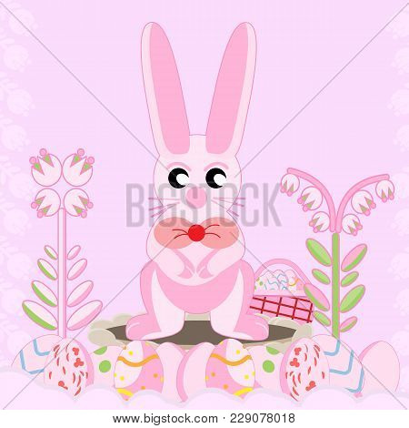 Vector Flat Illustration Of A Pink Rabbit Near A Hole Among Flowers Sitting On Its Hind Legs Near A