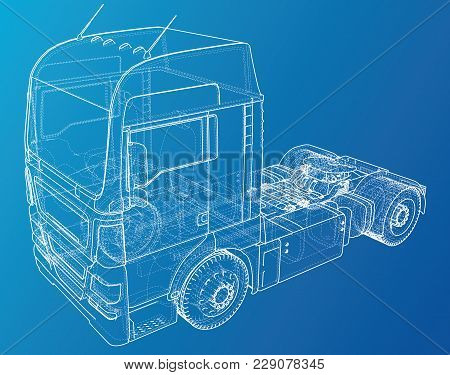 Eurotrucks Isolated On Blue Background. Delivering Vehicle Layout For Corporate Brand Identity Desig