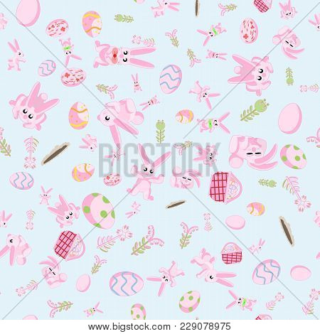 Vector Seamless Flat Pattern Of Pink Rabbits In Different Poses, Plants And Easter Eggs Isolated Blu