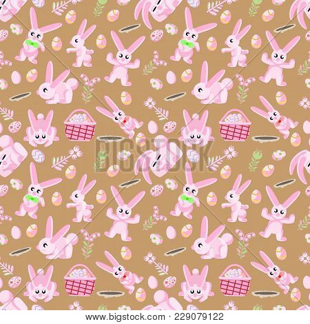 Vector Seamless Flat Pattern Of Pink Rabbits In Different Poses, Plants And Easter Eggs Isolated Bro