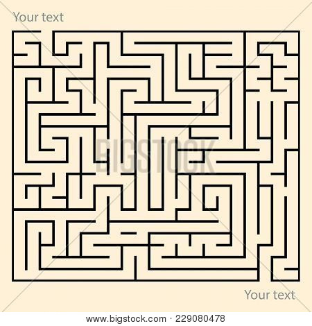 Rectangle Maze Puzzle Game With Entry And Exit Point. Funny Puzzle Labyrinth Game. Placeholder For C