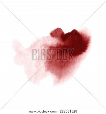 Red Wine Stain Isolated On White Background. Realistic Wine Texture Watercolor Grunge Brush. Dark Re