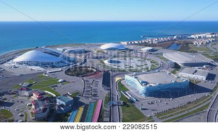 Russia, Sochi - October 20, 2017: Aerial View On Sochi, The Olympic Village And Fisht Stadium. Gener
