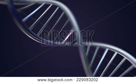 Rotating Dna, Genetic Engineering Scientific Concept, Blue Tint.. 3d Rendered Loopable Animation Of