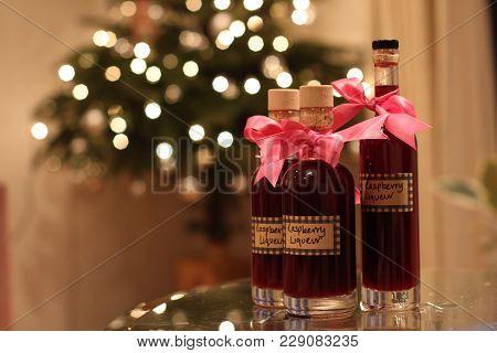 Beautiful Festive Liquors By The Christmas Tree