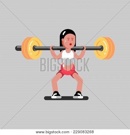 Girl Makes A Squat With Weight. Vector Illustration, Eps 10