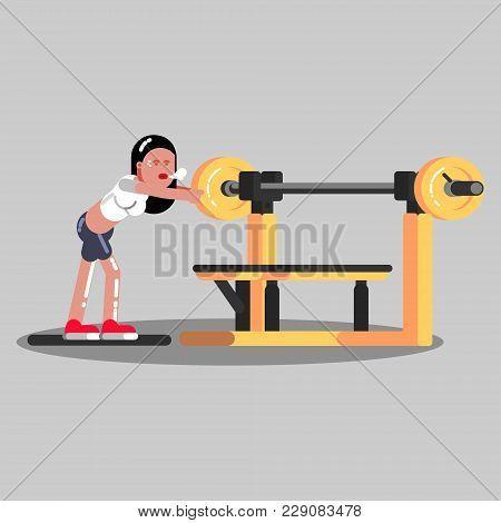 Girl Put Pancake On Barbell In Gym. Vector Illustration, Eps 10