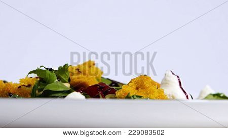 Top View Of White Plate With Salad, Caprese. Motion From Close Up Detail To Whole Plate. Close Up Of