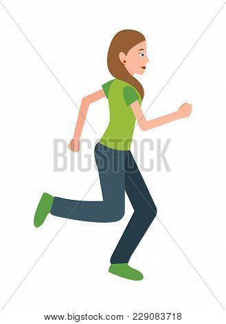 Woman Jogging Vector Illustration. Female In Sport Apparel Running, Active Healthy Lifestyle Teen On