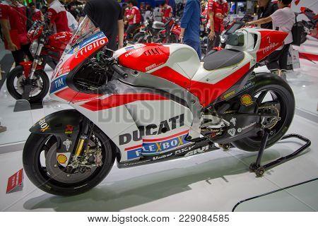 Bangkok, Thailand - December 11, 2017: Ducati Desmosedici Gp Superbike Presented In Motor Expo 2017
