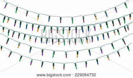 String Of Christmas Lights Isolated On White Background With Clipping Path