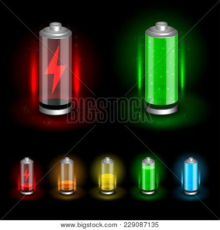 Battery Accumulator Icon Set On Dark Black Background. Glossy Batteries Collection With Green Red Or