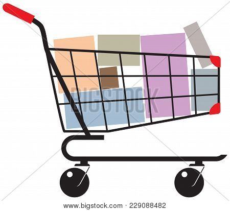 Shopping Cart With Shopping In Boxes. Vector Illustration.