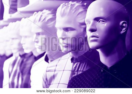 Dummy In The Menswear Store. Ultraviolet Image.