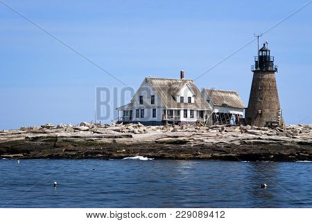 Mount Desert Rock Lighthouse, Is One Of The Remote Rocky Island Lighthouses In Maine. It Is Constant