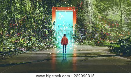 Fantasy Scenery Showing The Boy Standing In Front Of The Magic Gate With Glowing Blue Light In Beaut