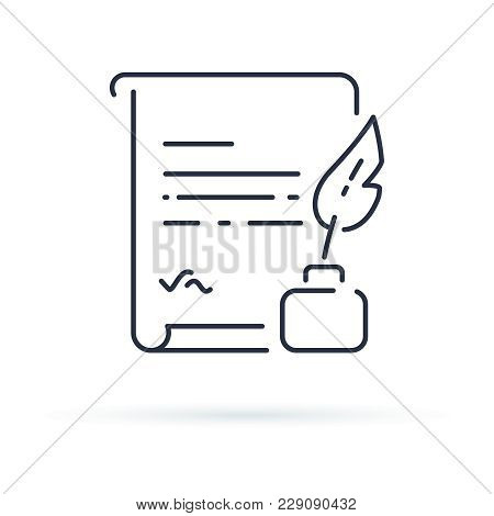 Ink Feather Pen And Scroll Paper Line Icon, Outline Vector Sign, Linear Style Pictogram Isolated On
