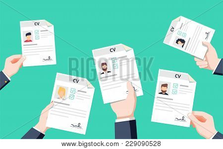 Hands Holding Cv Papers. Human Resources Management Concept, Searching Professional Staff, Analyzing