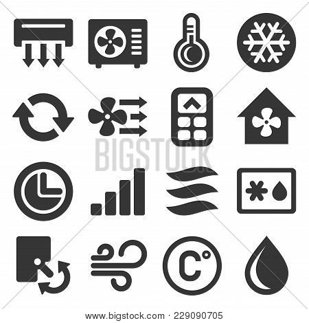 Air Conditioner Icons Set On White Background. Vector Illustration