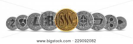 Set Of Gold And Silver Crypto Currencies With Golden Steem In Front Of Other Crypto Currencies As Le