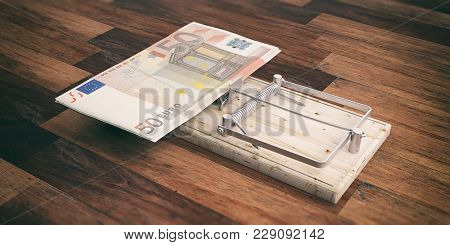 Euros Banknotes On A Mouse Trap Isolated On Wooden Background. 3D Illustration