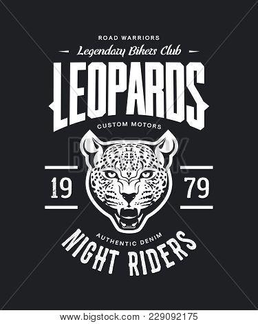 ce1fb96f Vintage furious leopard custom motors club t-shirt vector logo on dark  background. Premium quality bikers band logotype tee-shirt emblem  illustration.
