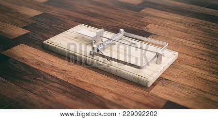 Mouse Trap Empty On Wooden Floor Background. 3d Illustration