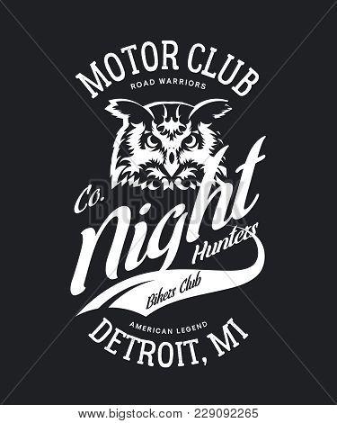 Vintage Bikers Club T-shirt Vector Logo On Dark Background. Premium Quality Owl Bird Night Hunter Lo