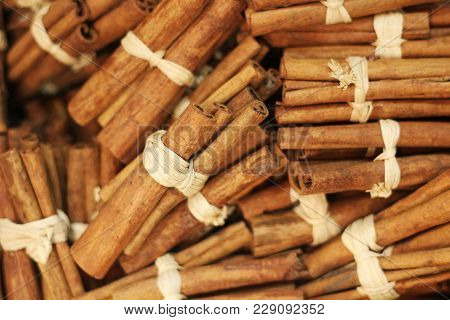 Bunches Of Cinnamon Sticks, Bound Together With String, Full Frame, Background