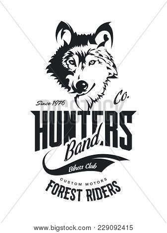 Vintage Wolf Custom Motors Club T-shirt Vector Logo On White Background.premium Quality Bikers Band