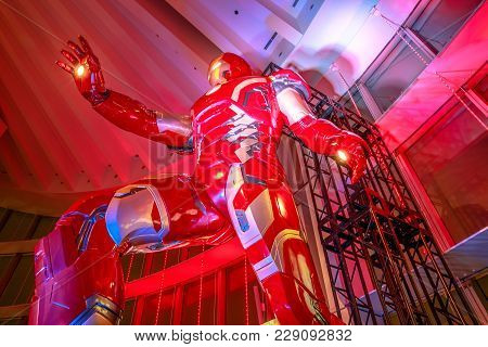 Tokyo, Japan - April 20, 2017: Low Angle View Of Gigantic Statue Of Iron Man Of Marvel Age Of Heroes