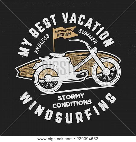Vintage Hand Drawn Windsurfing, Surfing Tee Graphic Design. Summer Travel T Shirt. Poster Concept Wi
