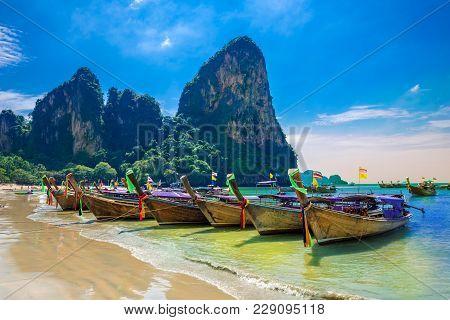Beautiful Destination Scene On Railay Beach In Krabi Region Of Thailand
