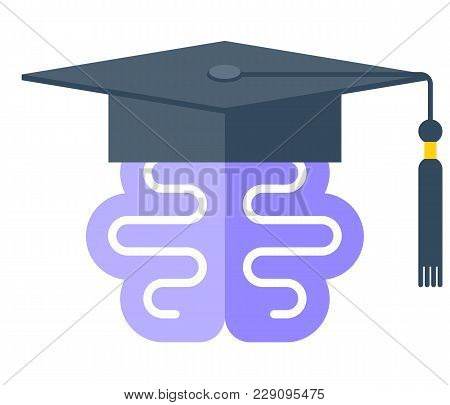 Human Brain In The Graduate Hat. Vector Flat Illustration Of Mind Symbol In The Academic Hat With Ta