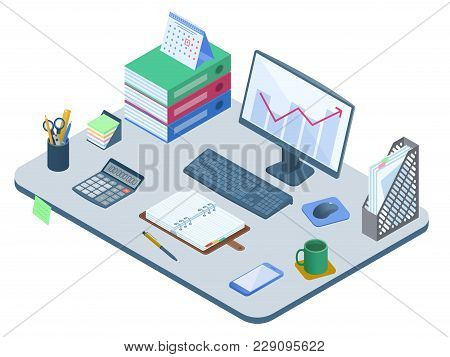 Flat Isometric Illustration Of Office Workplace. Desk With Electronic Equipment, Supplies And Statio