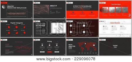 Minimal Presentation Templates. Tech Elements On Black Background. Technology Sci-fi Concept Vector