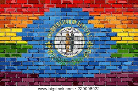 Brick Wall Kentucky And Gay Flags - Illustration, Rainbow Flag On Brick Textured Background,  Abstra