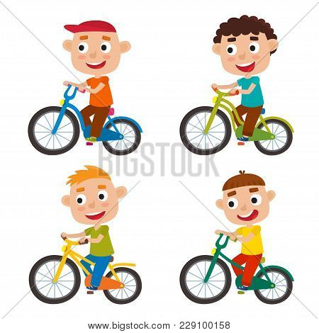 Set Of Cartoon Boys Riding A Bike Having Fun Riding Bicycles Isolated On White. Happy Kid Having Fun