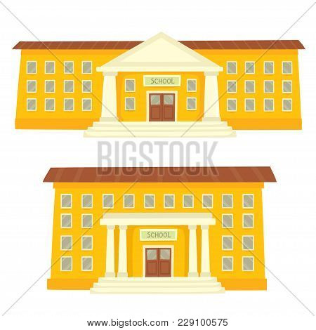 Color Vector Illustration Of School Buildings Isolated On White For School Banner Or Poster Design.