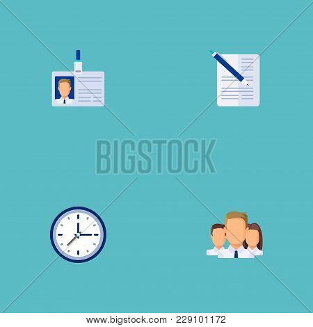 Set Of Business Icons Flat Style Symbols With Time, Document With Pen, Team And Other Icons For Your